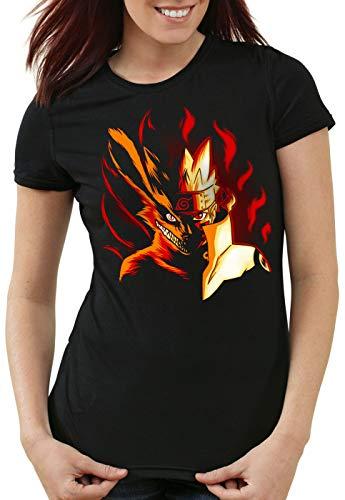 Frauen Krieger Kostüm Ninja - CottonCloud Fire Wolf Damen T-Shirt Uzumaki Ninja Anime, Größe:M