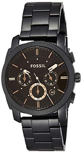 Fossil Herren analog Quarz Uhr mit Edelstahl Armband FS4682