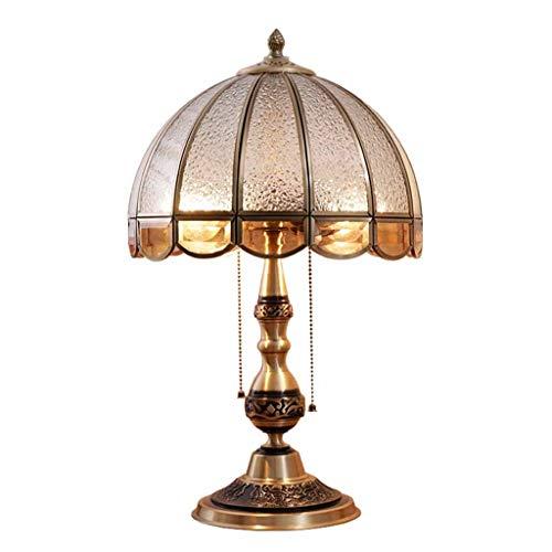 American Style Pull Chain Schreibtischlampe Vintage 18,3 Zoll Nachttischlampe mit Glasschirm, Bronze-Finish, ideal für Schlafzimmer Couchtisch Antique Desk-Gold (Color : Dimming Switch) - Antique Bronze Gold Finish