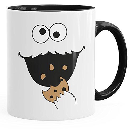 MoonWorks Kaffee-Tasse Lustiges Cookie Fressendes Kekse Monster Gesicht Schwarz Unisize