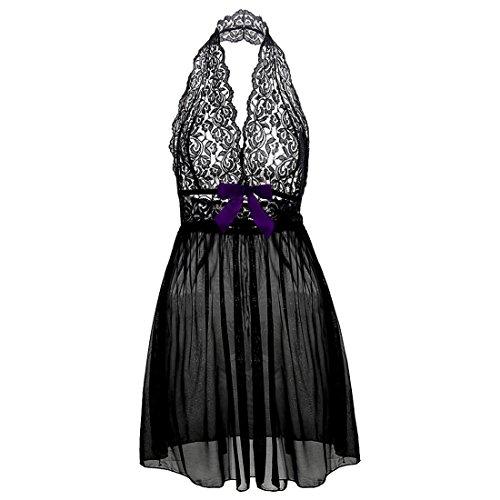 TewFairys Damen (M-6XL) Schulterfreien Kurze röcke Dessous Spitzenborte Nachthemd Große Größen Schwarz