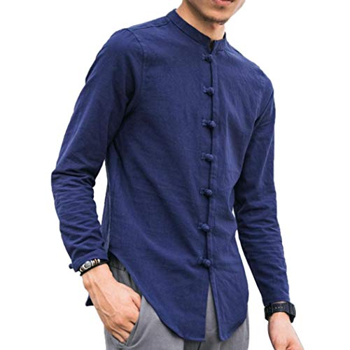 Herren Langarm Leinen Hemd Fischerhemd Kurtha Uni Überzieher Freshrunk Baumwolle Button-Down Freizeit Hemden Freizeit Regular Fit Kragenloses Shirt Tops Fisherman Hemd(Blau,EU-56/CN-4XL) -