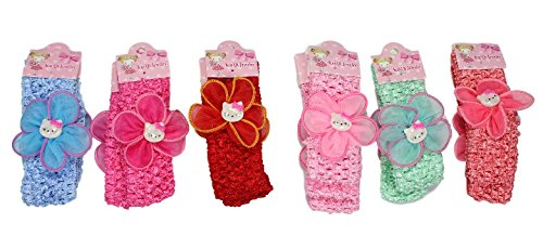 Adriel- 6 Pieces Infant Baby Girls Cute Flower Hairband,Hair Accessories (Color & Design May Vary)