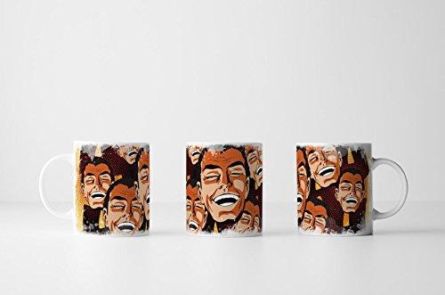 EAU ZONE Fotokunst Tasse Geschenk Pop Art - lachende männliche Gesichter