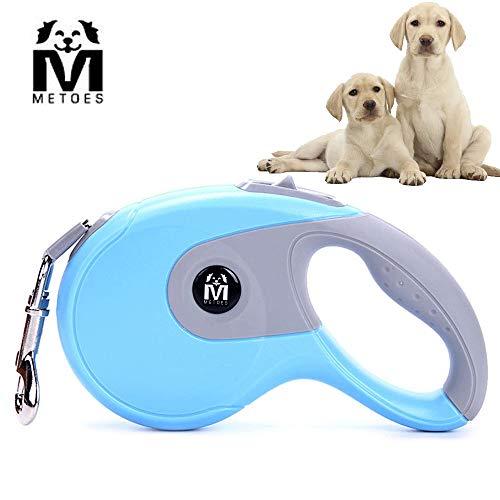 METOES Flexible Hundeleine, 16ft Hund Walking Leine, Geeignet für Jede Art von Hund, Katze, Gewicht bis 50kg, Kein verwirren, Nur Verriegelung. (Weiß, Blau, Rosa), 10 Feet, Blau -