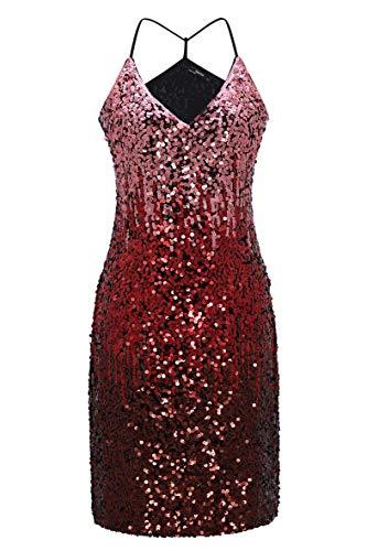 (Metme Damen Gradient Pailletten Cocktailkleid V-Ausschnitt Bodycon Funkeln Partykleid Helles Rosa/Rot/Burgunder-Rot, M, EU40)
