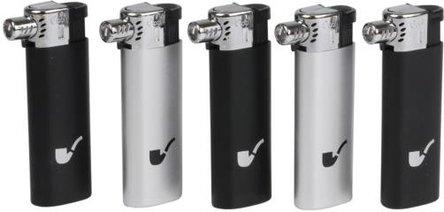 5 x ATOMIC Mehrweg-Pfeifenfeuerzeug schwarz/silber sortiert