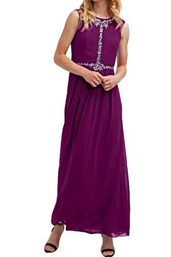 Victory Bridal Elegant Chiffon Brautmutter Formale Partykleider Abendkleider Promkleider Silber Steine Lang Fuchsia