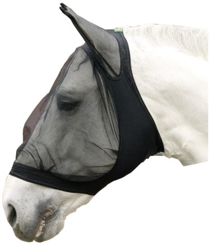 United Sportproducts Germany USG  15550001-400 Fliegenmaske mit Ohrenschutz, Pony, schwarz