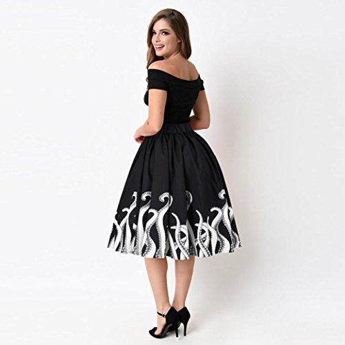 Jupe Rétro Vintage noir blanc, Koly Politesse des femmes Squid Fancy Print Pattern Mini taille du genou Patineur Robe de soirée de cocktail A