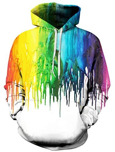 Ocean Plus Jungen 3D Kapuzenpullover Spaß Sweatshirt Hoodie mit Kängurutasche Sportlich Digitaldruck Pullover mit Kapuze (XL (Körpergröße: 135-145cm), Pigment auf Weiß) -