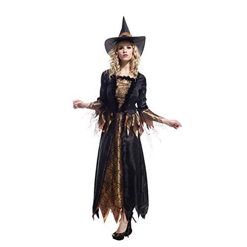 Magie Kostüm Kind Schwarze - wojiaxiaopu Halloween Maskerade kostüm Cosplay schwarz Gold Magie Hexe Set Gold Hexe Eltern-Kind Kleidung goldene Hexe M