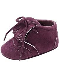 Longra 0~18 Mois Unisexe Garçons Filles Couleur unie Soles douces  Antidérapant Gland Nouveau née Chaussures Paillette Frange… d1a41f7e624b