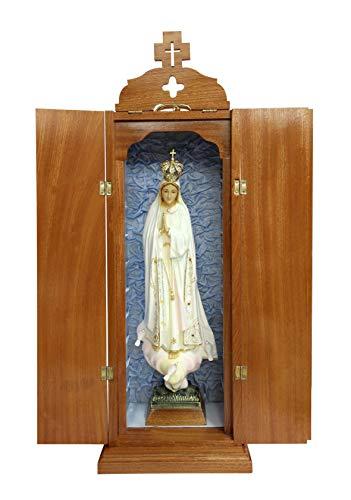 Ferrari & Arrighetti Imagen de la Virgen de Fátima Pintada a Mano con Caja de Madera incluida - 60 cm