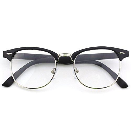 CGID 50er Jahre Retro Nerd Brille Halbrahmen Hornbrille Clubmaster Stil Rockabilly Streberbrille,Matte Schwarz
