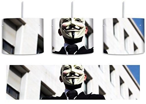 Anonymus Maske inkl. Lampenfassung E27, Lampe mit Motivdruck, tolle Deckenlampe, Hängelampe, Pendelleuchte - Durchmesser 30cm - Dekoration mit Licht ideal für Wohnzimmer, Kinderzimmer, (Man Maske Invisible)