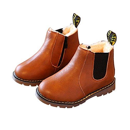 Nasonberg Jungen Mädchen Winter Leder Schneestiefel Warme weiche Winterschuhe Boots für Kinder Baby,gefüttert,Braun,24EU (Schuhe Boot Für Jungen)