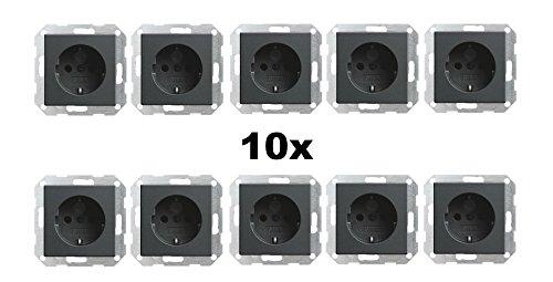 Preisvergleich Produktbild 10x GIRA 045328 Steckdose mit integriertem erhöhten Berührungsschutz Anthrazit System 55