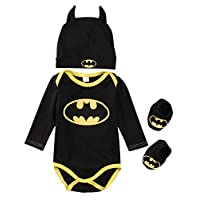 Newborn Infant Baby Boy Girl Batman Rompers+Shoes+Hat Outfits Set 3Pcs Clothes Costumes (Long Sleeve, 90)