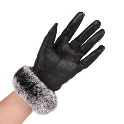 URSFUR Frauen Mode Lammfell Leder Handschuhe Fingerhandschuh Winterhandschuhe Outdoor Handschuhe mit echte Kaninchen Fell Futter -schwarz C (Lammfell-futter)