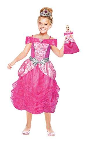 amscan 999357 Disney Prinzessinen Mädchenkostüm Barbie Herzprinzessin und Mini Me, Rose, 110-128 cm