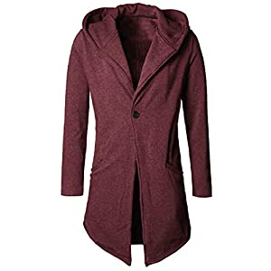 ZIYOU Herren Kapuze Mantel, Herbst Winter Strickjacke Lang Slim Fit Trenchcoat Männer Cardigan Parka Jacket Outwear
