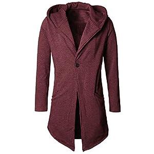 ZIYOU Herren Kapuze Mantel, Herbst Winter Strickjacke Lang Slim Fit Trenchcoat Männer Cardigan Parka Jacket Outwear