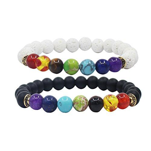 KSQS Chakra & Lava Rock Stones Armbänder-ätherische Öl-Diffusoren Armbänder für Frauen und Männer-auch als Distanz Armbänder für Paare geeignet-natürliche Halbedelsteine Perlen