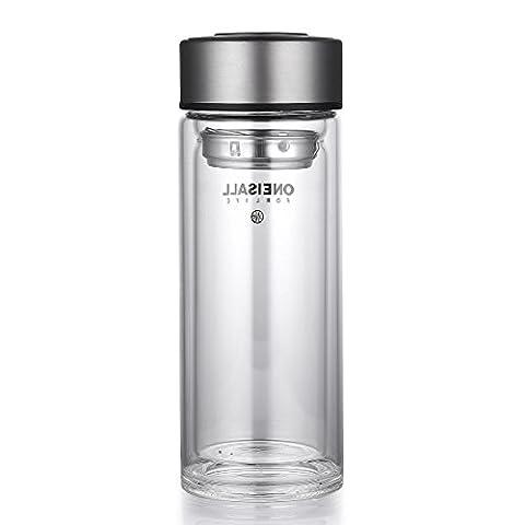 Oneisall Dgybl227350ml à double paroi en verre borosilicate Bouteille de l'eau potable Thé Mug Tasse thermos Thumbler avec filtre et tasse épaisse en bas