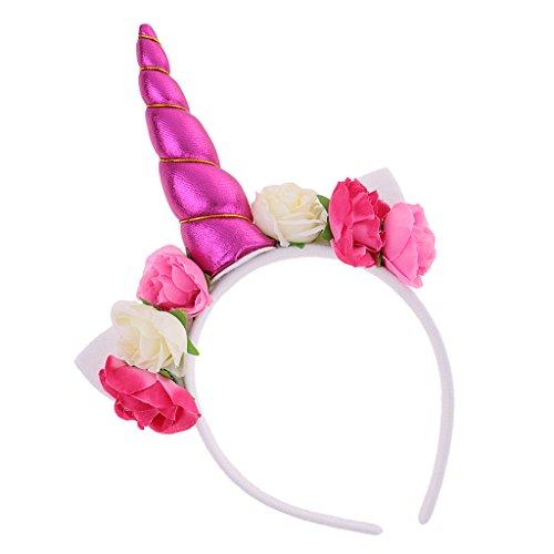 Blesiya cerchietti fiori artificiali orecchio corno unicorno fascia per cappelli cosplay costume per carnevale halloween - rosa bianca