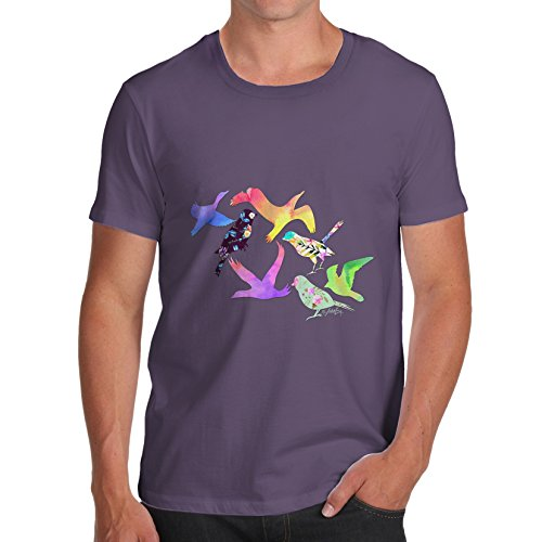 Herren Rainbow Birds T-Shirt Pflaume