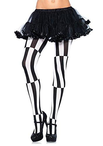 Leg Avenue Strumpfhose mit optischer Illusion, Schwarz / Weiß, Größe 42–44 (Strumpfhose Leg Avenue Size Plus)