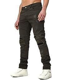 RNT23 Hombres Jeans AVALON en el Delgado Fit Sección con Kunstlederapplikationen y destruido Busque
