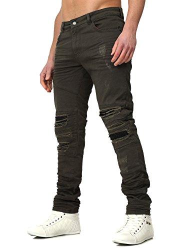 RNT23 Herren Jeans AVALON im Slim Fit Schnitt mit Kunstlederapplikationen und Destroyed Look Khaki