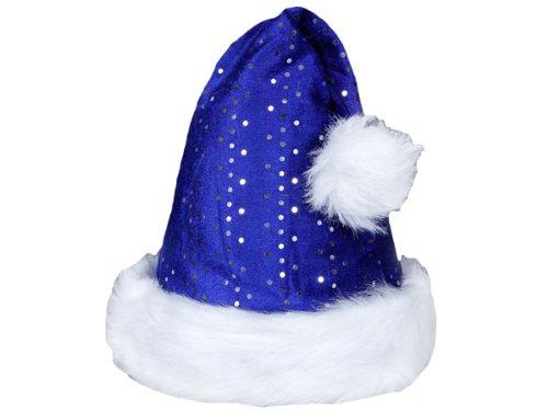 Weihnachtsmützen Nikolausmützen der pure Luxus kuschelweich , Weihnachtsmütze wählen:wm-48a blau pailetten
