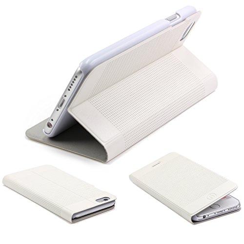 Urcover® iPhone 6 / 6s [ KAMERA-SCHUTZ ] Handy Schutz-Hülle | Kartenfach & Standfunktion | DOT Case Pink | Wallet Cover Tasche | Smartphone Zubehör Etui speziell für Apple iPhone 6 / 6-s Weiss