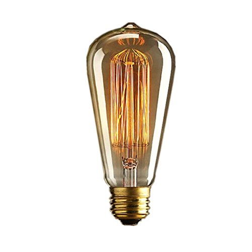 Lettuce 1x Vintage light bulb Retro old fashioned Edison Style E27 Screw ST64 19 anchors 40W 220V - Squirrel Cage tungsten filament glass antique Lamp Test