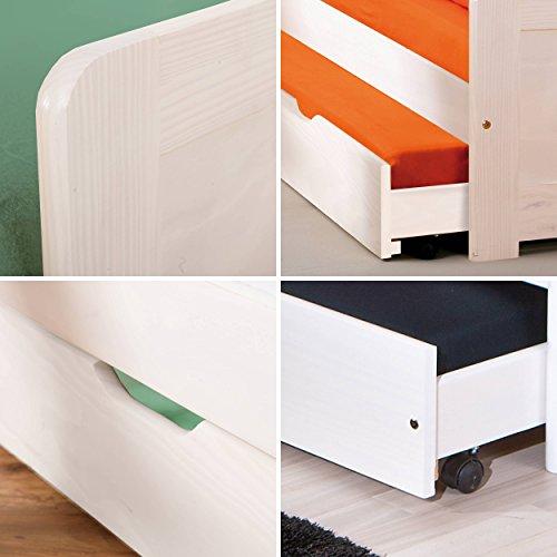 Massivholzbett Jugendbett 90x200 cm Kinderbett Bett Funktionsbett Kojenbett Ausziehbett in weiß mit ausziehbarer Bettkasten - 3