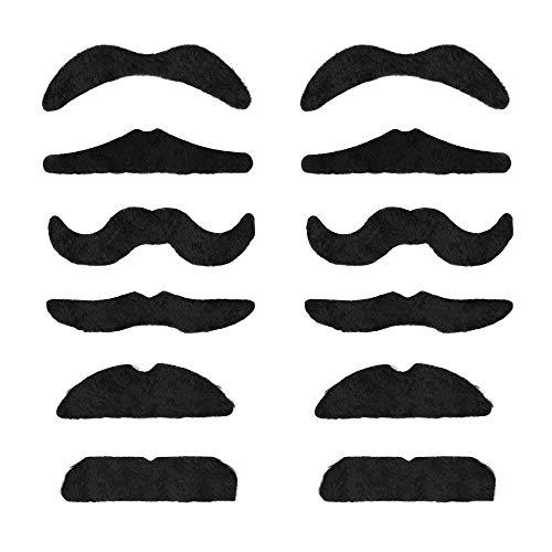 Trixes Set mit 12 Verschiedenen Selbstklebende Falsche Schnurrbärte für Karneval - Perücken & Haarteile für Erwachsene