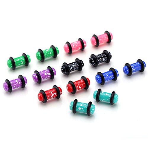 JSDDE 14PCS/ Set Acrylique Boucles Clous d'Oreilles Tunnel Plug Ecarteur Expandeur Mixtes Couleurs en 1.6-10MM Taille: 5MM