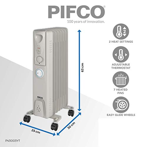 41PHY%2BZ6QiL. SS500  - PIFCO P43003YT Oil Filled Radiator with 24 Hour Timer, 3 Heat Settings and Overheat Protection Feature 1500 W, Grey