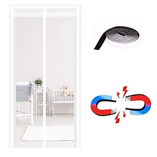 A&CD Fliegengitter TüR Weiß,Life Vorhang Mit Magnetverschluss Einfache Klebemontage Fliegenvorhang Individuell KüRzbar,White,70x220cm(28x87inch)