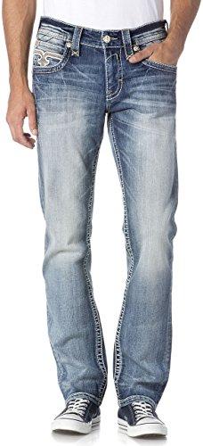 Rock Revival - Mens Eled J200 Rearrange Jeans, Size: 36, Color: denim