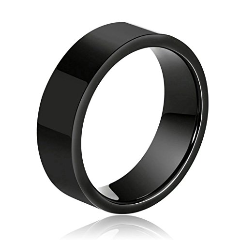 Adiaser Edelstahl Ring Herren Einfach Hoheglanz Poliert Ring für Herren Schwarz Breite 8MM Ringe Größe 57 (18.1) Verlobung Band (Irland Kostüme Herr Der Ringe)