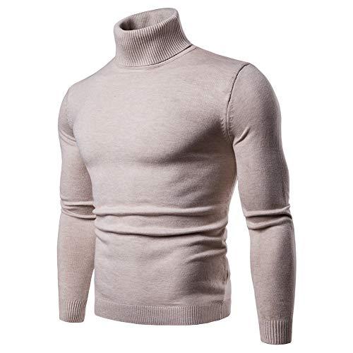 Pulls Basique Homme Pull à Col Roulé Chaud Pull en Maille Uni Jumper Manches Longues Chandails Casual Sweatshirt Slim F