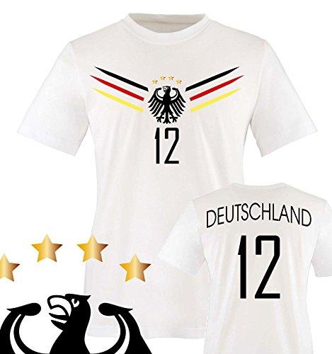 Comedy Shirts - Deutschland WM 2014-12 - Herren T-Shirt - Weiss/Schwarz-Rot-Gelb Gr. XXL