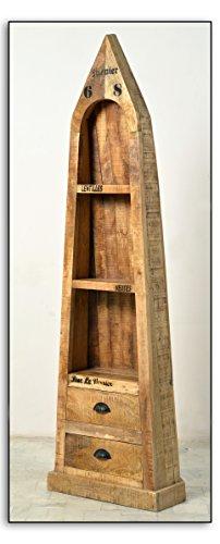 Boots-Regal mit 3 offenen Fächern und 2 Schubladen aus massivem Mango-Holz Antik-Finish 55x190 cm | Crust | Antikes Holz-Regal mit starken Gebrauchsspuren und schwarzen Beschlägen 55cm x 190cm (Schwarzes Finish Bücherregal)