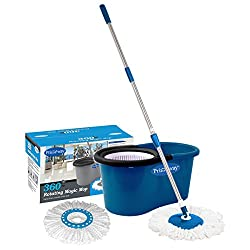 Primeway Magic Spin Mop and Bucket for 360 Degree Rotating Cleaning with 2 Microfiber Mop Heads, Dark Blue