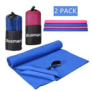 Purebox Mikrofaser Handtücher, Blusmart 2er-Set Mikrofaser-handtüch Ultra Reisehandtuch saugfähig Sport Handtuch Leicht Badetuch für Strand Fitness Yoga Sauna Outdoor Reise
