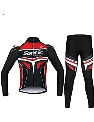 Santic Ciclismo Carreras Equipo Profesional 4D Pad largos años Suits (Rojo, XXXL)